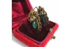 Antique Vintage Earrings Silver Mop Brass Handmade Early 1900s