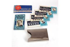 King Gillette Blue & Merkur Vintage Safety Shave Razor Blades Metal Box