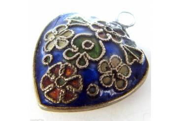 Vintage Jewelry Heart Shaped Pendant Blue Enamel Silver Flowers Repair