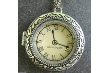 Vintage Jewelry Watch Shaped Pendant Case Silver Chain
