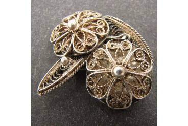 Antique Mens Ladies Daisy Cuff Links Round Silver Filigree