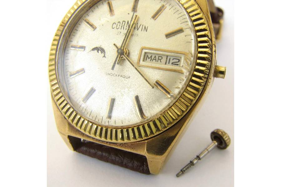 cornavin 17 jewels vintage mens wrist 22k gold plated