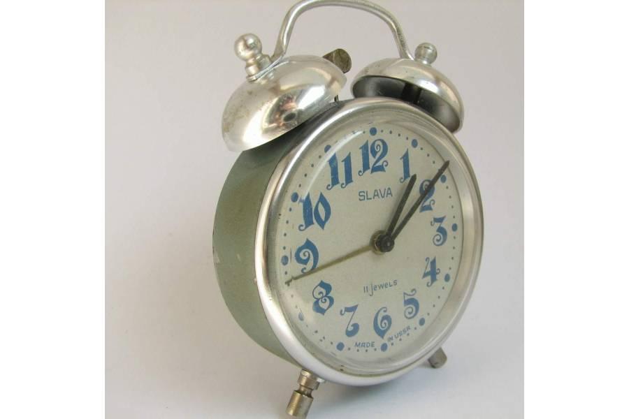 Two Bell Vintage Alarm Clock SLAVA Soviet USSR 1970s Arabic Dial