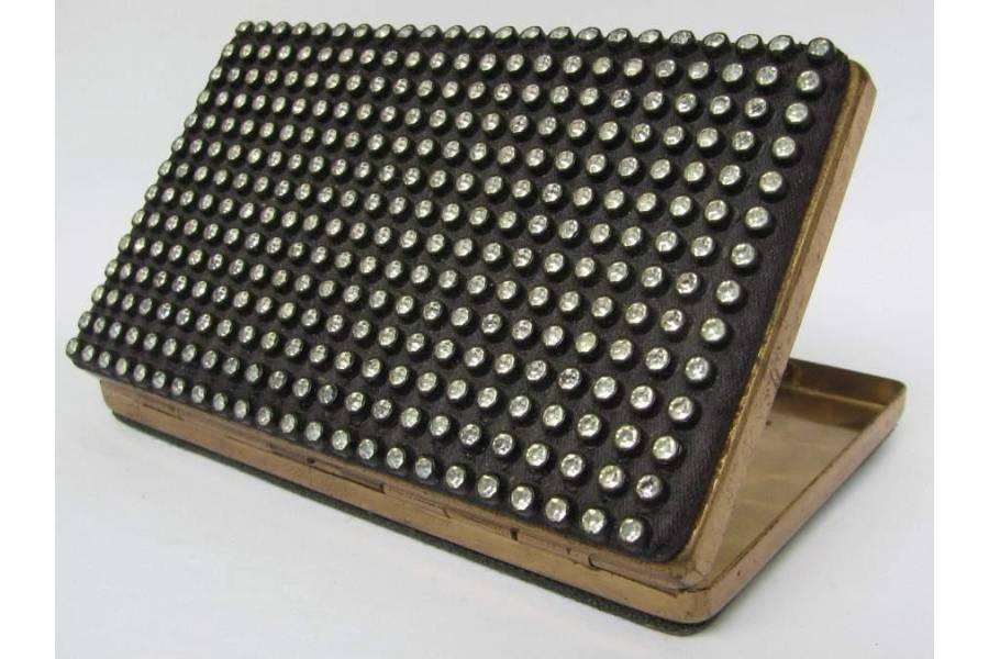 Vintage Ladies Cigarette Case Jewelry Trinket Box Slim Sized Beaded Black
