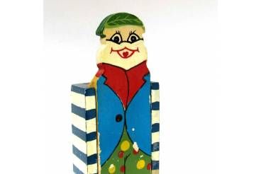 Vintage Pen Case Handmade Wooden Pencil Holder Clown Sliding Top Cover Greece