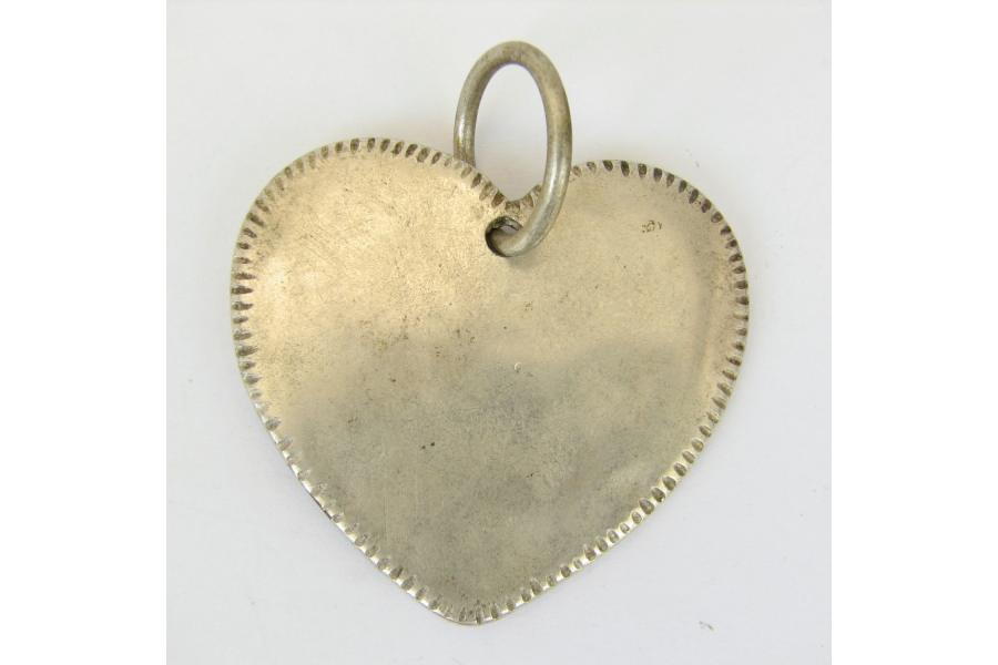 Vintage Jewelry Heart Shaped Pendant Silver Color Oversize Big