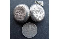 Antique Sterling Silver Pendant Locket Picture Frame Pill Box Handmade Vintage Jewelry