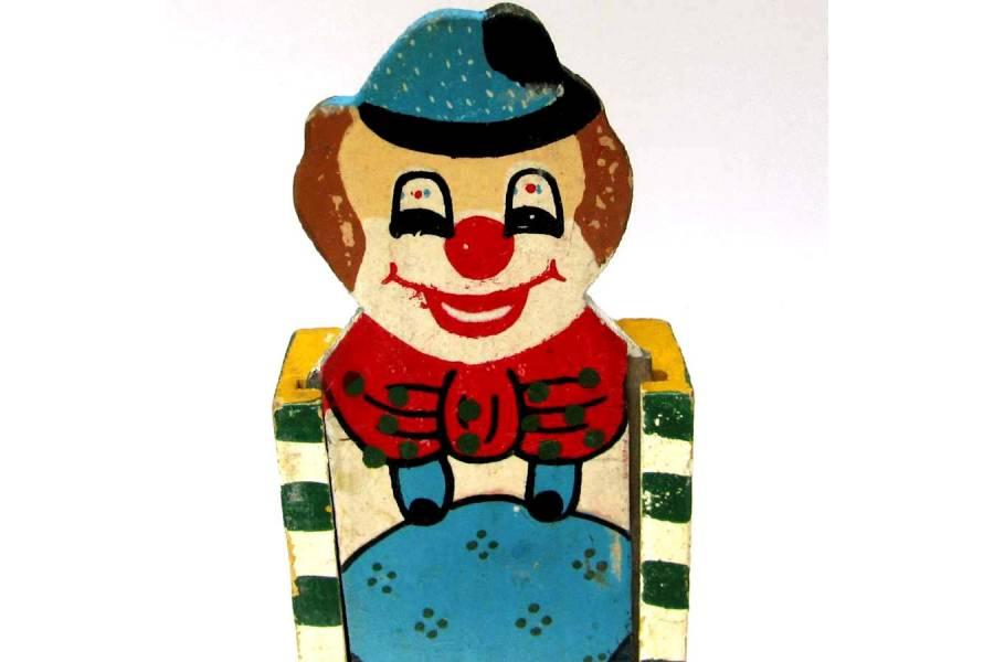 Vintage Pen Case Handmade Wooden Pencil Holder Clown Sliding Top Cover Greece 2