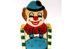 Vintage Pen Case Handmade Wooden Pencil Holder Clown Sliding Top Cover Greece 2
