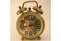 Two Bell Vintage Alarm Clock Brass Filigree OSXAR Roman Dial