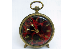 WEHRLE German Vintage Alarm Clock Brass Filigree Roman Dial