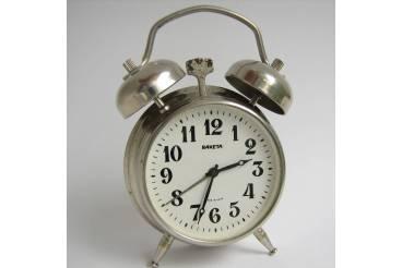"Two Bell Small Vintage Alarm Clock ""Raketa"" Soviet USSR 1970s Arabic Dial"