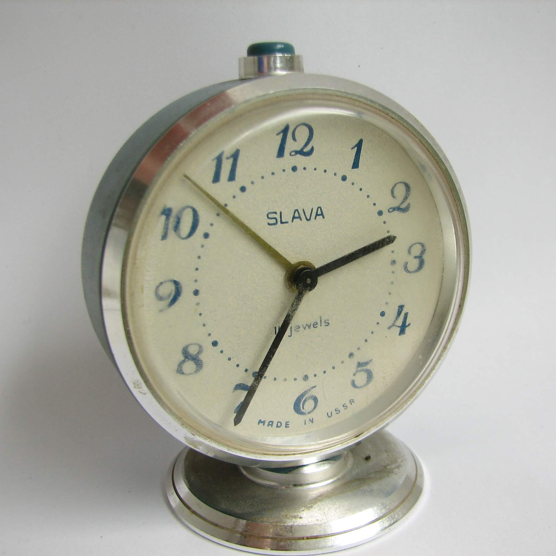 vintage alarm clock slava ussr 1970s 11 jewels blue chromed dial ring base