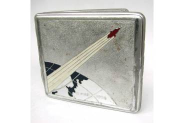 Vintage Cigarette Case Soviet Space Program Third Satellite Sputnik Souvenir Signed May 15 1958