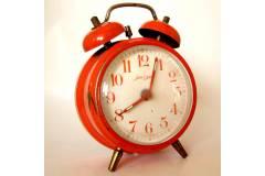 Two Bell Top Vintage Alarm Clock Jerger Germany Red Orange