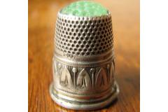 Antique Sterling Silver Thimble Aqua Glass Top 800 Free Shipping