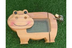 Vintage Piggy Bank Coin Saving Box Children Kid Toy Hippo Glass Lock Keys