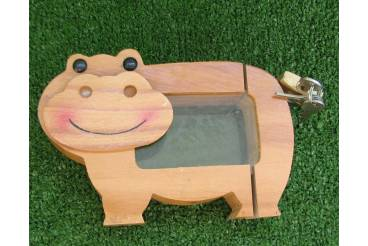 Vintage piggy bank coin savings box lock keys hippo wooden for Large piggy bank with lock
