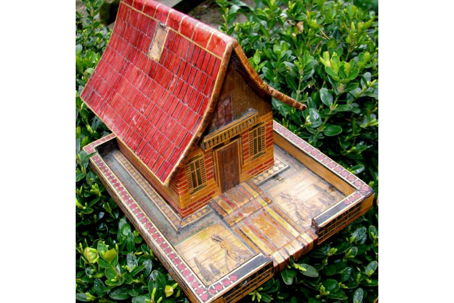 Vintage piggy bank coin savings box handmade wooden house for Handmade coin bank