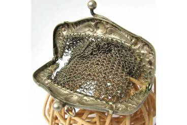 Vintage Silver Color Mesh Purse Ladies Link Chain Evening Coin Bag