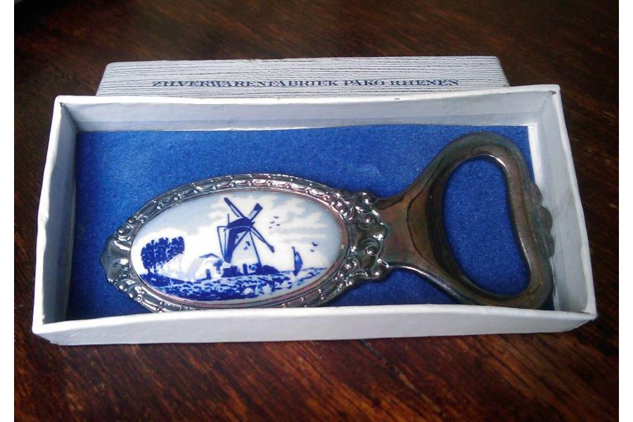 Vintage Silverplated Bottle Opener Pako Rhenen Souvenir Zilverwaren Landscape Blue