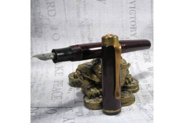 Nice Vintage Antique Fountain Pen Brown Bakelite Ladybug Ladybird