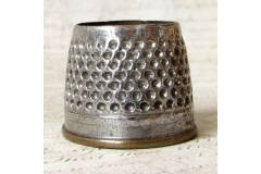 Vintage Open Thimble Two Metal Brass Base Chromed Outside