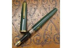 Vintage Fountain Pen Piston Filler Green Brass Clip