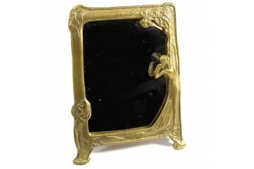 Vintage Brass Mirror Frame Lady Dresser Vanity Picture Frame Art Noveau