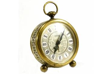 """EUROPA"" German Vintage Alarm Clock Brass Filigree Roman Dial Travel Size Serviced"