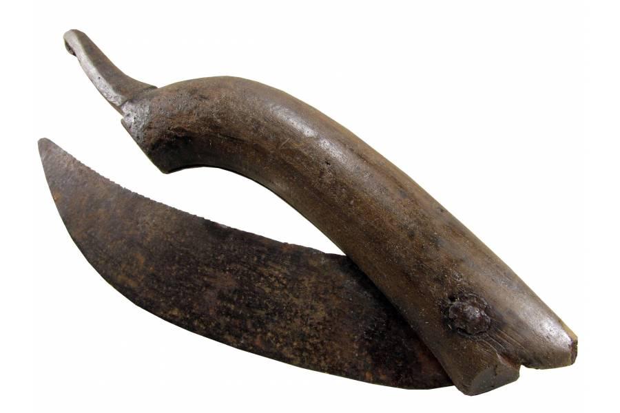 Antique Folding Blade Pocket Knife Vintage Farm Tool Wood Handle Handmade 1900s