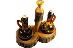 Oliv Art Mallorka Vintage Cruet Castor Set Wood Base Brown Bubble Glass