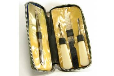 Vintage Vanity Nail Care File Knives Set in a Brass Tube Germany 1950s Hallmarked