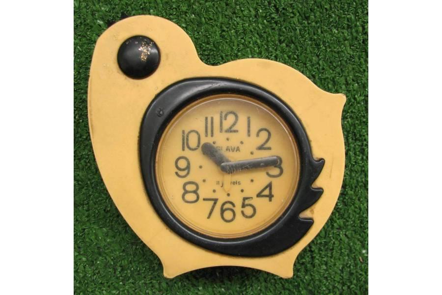 Vintage Alarm Clock Yellow Bird Slava USSR 1970s Mechanical