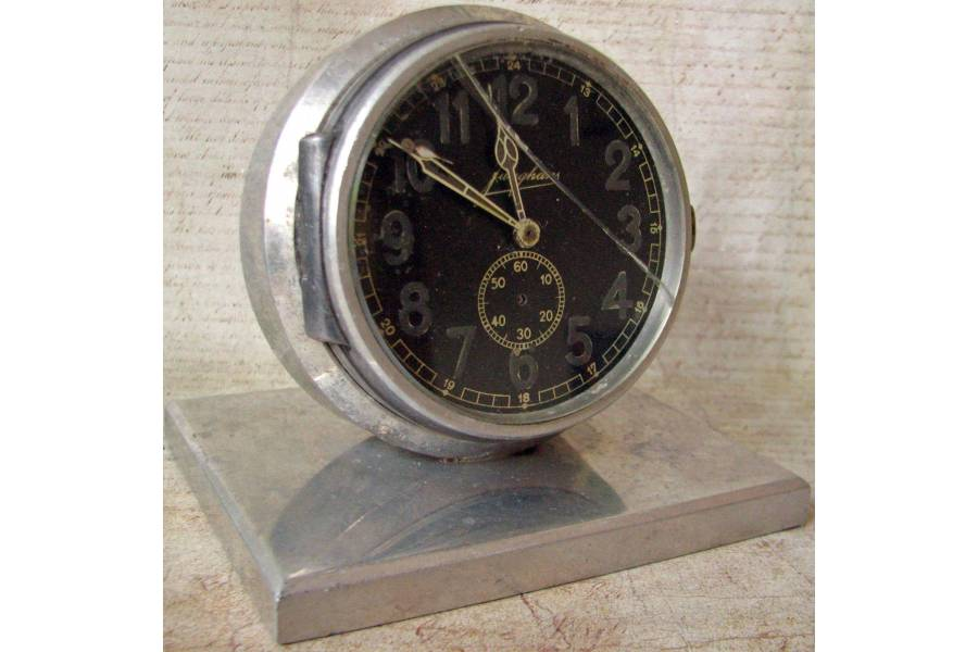 JUNGHANS Vintage German Alarm Clock Solid Aluminum Case Hinged Dial Cover  No Movement As Is Repair Project