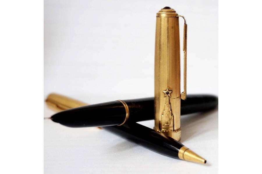 Great Luxury Vintage Fountain Pen & Mechanical Pencil Set SOYUZ