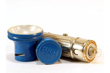 ARTAS Vintage Flashlight Blue Chromed East Germany DDR 1970s