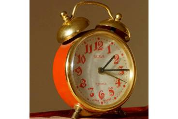 Two Bell Vintage Alarm Clock SLAVA Soviet USSR 1970s Arabic Dial RED