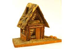 Small Wooden House Hut Pine Coach Roof Handmade Home Decor Accent