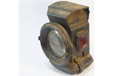 Vintage German Flashlight Rail Road Signal Light Lantern Magnifying Glass