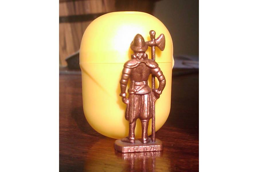 Swiss 5 Vintage Kinder Surprise Metal Soldier Toy Figurine