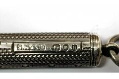 SAMPSON MORDAN & Co - Antique Propelling Slide Pencil Holder - SOLID STERLING SILVER - Hallmarked London, England, 1895