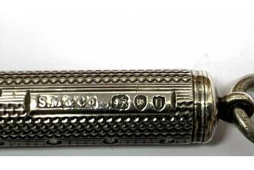 SAMPSON MORDAN & Co - Antique Propelling Slide Pencil Holder - SOLID STERLING SILVER - Hallmarked London, England, 1895
