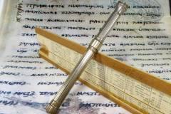 Antique Combo Slide Pencil Ink Dip Pen - Silver Barrel Purple Stone Finial