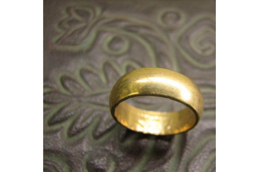 18k two tone gold personalized old english wedding band ring - Old Wedding Rings