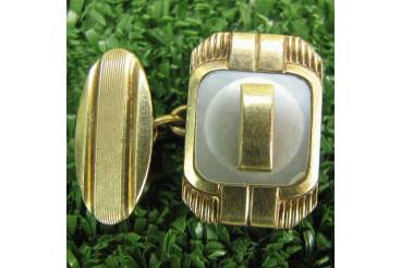 Vintage Mens Cufflinks Gold Color & MOP Chain Cuff Links