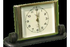Vintage Alarm Clock SLAVA Soviet USSR 1970s Gold Beveled Glass