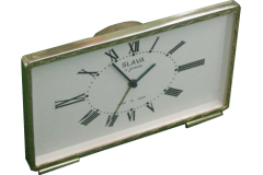Vintage Alarm Clock Gold Tone Desktop Watch Slava USSR 1970s