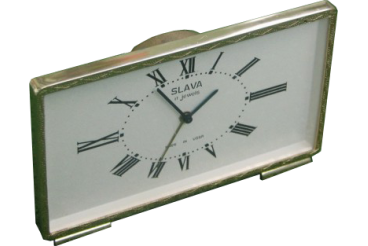 Vintage Alarm Clock Gold Tone Desktop Watch Slava USSR 1970s