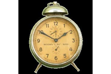 Vintage Alarm Clock GUSTAV BECKER Tin Body Cream Signed Dial
